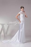 Wholesale High Neck Applique Satin Short Sleeveless Sweep Wedding Dresses