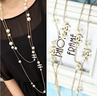 Wholesale 2014 New Woman Fashion Clothes Accessories Girl Necklace Pearl Necklace Clavicle Chain A1656E