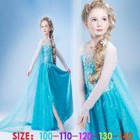 Cheap Frozen elsa anna 2014 Children Christmas Baby Girl Princess long Sleeve party Birthday lace Tutu Sequins Dresses 5pcs Lot(1701011)