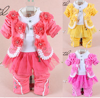 Cheap Wholesale-2014 new baby girl clothing set high quality children flower long sleeve denim three piece sets Korean version