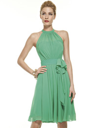 Wholesale 2014 Mint Lime Bridesmaid Dresses Pleated Chiffon Prom Gown with High Neckline and Halter