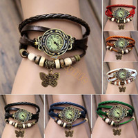 Wholesale New Colors Original High Quality Women Genuine Leather Vintage Watches Bracelet Wristwatches butterfly Pendant19255