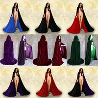Wholesale Royal Wedding Gothic Purple Red Green Black Velvet Cloak Cape Wicca Party vinly clothing Little Red Riding Hood Free shi