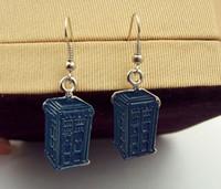 Wholesale New Jewelry Blue TARDIS Earring Doctor Who Earrings Movie Jewelry silver plated earrings