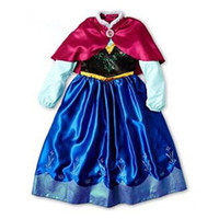 Wholesale Tutu Kids Girl Party Children Frozen Princess Costume Baby Girls Anna Dress With RED Cape Long Sleeve New Baby Dress