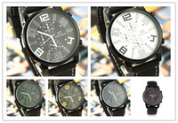 Wholesale Men Watches Sports Watches PU Leather Wrist watches Fashion Leather Quartz Watches Three Dials Mix Colors