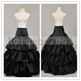 Wholesale Black Four Tiered Nylon A Line Bridal Petticoat Underskirt