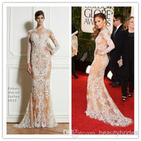 Wholesale Zuhair Murad Evening Gowns Lace Long Sleeves th Annual Golden Globe Awards Red Lace Celebrity Carpret Dress WJ091507
