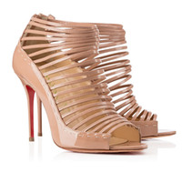Cheap New Woman Sandals Peep Toes Sexy Sandals Boots Nude Color Roman Style Stripe Bind Belt Buckles Patent Leather After Zipper Stiletto Heel 12