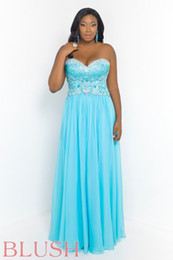 Wholesale 2014 Latest Chiffon Plus Size Prom Dresses Baby Blue Strapless Sweetheart Sleeveless Backless Floor Length Appliqued Beads W