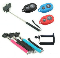 Wholesale 3pcs in Extendable Handheld Self portrait Monopod selfie stick Photograph Bluetooth Shutter Camera Remote Controller for iPhone Samsung