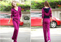 sweat suit - Women Girl s Hooded Tracksuits Sport suits Casual Slinky Yoga wear Autumn Clothes Zipper Panelled Sweat suits cotton