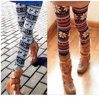 animal print spandex pants - VIP offer Fashion New Women s Nordic Deer Snowflake thin Knitted Leggings Pants mixed Colors Christmas Gift