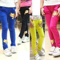 pure gold - Hot Selling Chid Children s Casual Pants Pure Color Gold Fox Printed Girls Long Trouser Girl Girl s Shorts Leisure Clothing Wear J1687