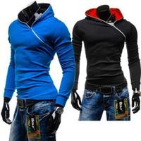 pullover men - 2014 New Brand Male Slim inclined zipper hoodies Fleece Casual Men s Sweatshirt Pullover Men Sportswear