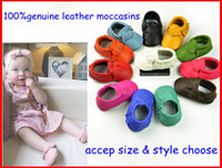 Wholesale Fedex EMS new style baby soft genuine leather moccasins soft moccs baby shoes high quality baby first walkers Tassels kids cow sneakers