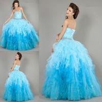Wholesale 2015 Stunning Blue Organza Quinceanera Dresses Beaded Ruffles Floor Length Vestidos De Festa Masquerade Ball Gowns Dress For Years