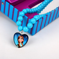 Wholesale Plant for the new children s snow Romance Princess Anna blue beaded necklace heart shaped pendant necklace