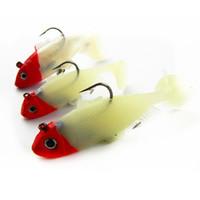 Wholesale Road sub bait bag soft luminous red lead fish head white body g freshwater bass bait lure g g