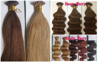 Wholesale Keratin Stick I Tip Hair Extensions g s Straight Wavy Blue Brown Blonde Red Mixed Ombre Color Indian Remy Human Hair