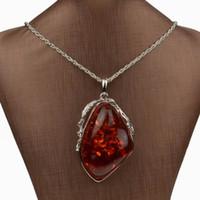 amber leaf - Necklaces Pendants Leaf Huge Drop Resin Red Amber Chain Necklaces Long Brand Vintage Necklace