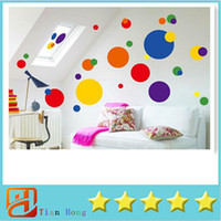 PVC Plastic Dots Stick Wall Decals Geometric Colorful Transl...