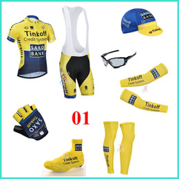 Wholesale 2014 Tinkoff saxo bank cycling team jersey short sleeve sets arms gloves legs caps Shoes covers cycling sunglasses
