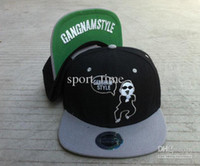 Wholesale PSY Gangnam Style Snapback Hats Adjustable Hats Flat Brim Hats Black Grey Hip Hop Hats Swag Must Hat