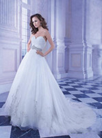 Cheap 2014 Simple Strapless A-Line Organza Wedding Dresses Demetrios Ruched Floor Length Chapel Train Beaded Bridal Gowns