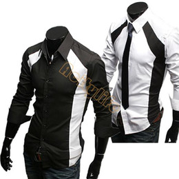 Wholesale Men Shirt Long Sleeve Male Slim Casual Clothes Men s Clothing White Black Shirt New