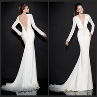 Cheap 2015 Tarik Ediz Dresses Sexy V Neck Sheath Sweep Train Long Sleeve White Chiffon Evening Party Gowns Formal Dress