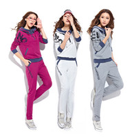 Cheap New Fashion women's cotton Casual Hoodie Track suit Jacket sweat pants set
