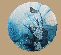 Wholesale 2014 Parasols Blue butterfly figure oiled paper umbrella umbrella luzhou water dance umbrella umbrella Chinese traditional diameter cm