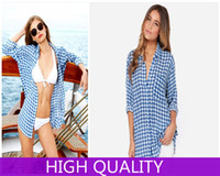 Cheap BF Boyfriend Style Shirts 2014 Vintage Blue Plaid Blouse Shirt Women Work Wear Loose Casual Blouses Women Blouse Plus Size XXL