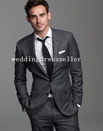 Wholesale Custom Hot Sale Autumn Gentleman Gray Handsome Good Design Notch Tuxedos Groom Suits Suit Pant Groom Men Suits