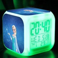 Wholesale freeshipping Frozen Alarm Clock LED Colorful Change Digital Alarm Thermometer Night Colorful Glowing Clock