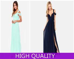 Wholesale Bandage Summer Dress Lady Chiffon Long Dress Solid Casual Women Maxi Dress Side Slit Vestidos Elegant Evening Party Dresses