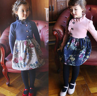 Wholesale Girls Trendy Floral Pleated Collar Dresses Autumn Winter Children Clothing For Yrs Kids Long Sleeve Flower Dress Pink Navy I1854
