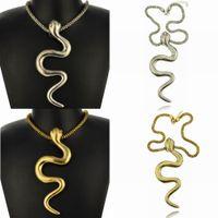 Wholesale 2014 new for woman vintage bijoux tibetan silver punk india snake statement necklace chain charm pendants
