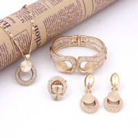 Cheap 2014 Women African Fashion 18K Gold plated Crystal Necklace Jewelry Sets High Quality Italina Elegant Wedding Bridal Costume Jewelry Sets