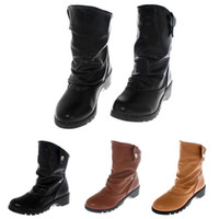 Wholesale Women Motorcycle Boots Faux Leather Cleated Chunky Heels Cowboy Boots For Women Casual Autumn Ankle Boots Ladies Shoes