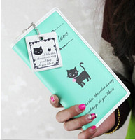 Wholesale New fashion women long purse clutch wallet Cute Cat zip bag card holder Handbag