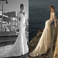 beach wedding designs - Hot Vintage Design Long Illusion Sleeve Backless Wedding Dresses Mermaid Lace Chiffon Scoop Neck Court Train Bridal Gowns Custom Made W370