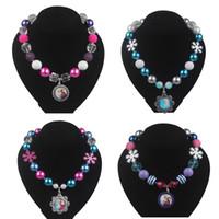Wholesale Frozen Necklaces Snowflake Necklace Beaded Necklace with Snowflake Beads Frozen Cartoon Princess Pendants Fashion Jewelry