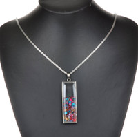 Cheap Living Memory Charm Floating Square Silver Plated Glass Diamante CZ Rhinestone Crystal Chain Locket Pendant Necklace