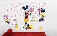 Wholesale Mickey Mouse and Minnie vinyl wall stickers for kids rooms home decoration wall decals art DIY adesivo de parede poster