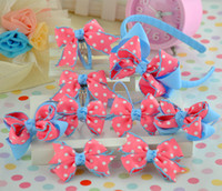 stick pins - 9pcs set Children s Bowknot Hair Stick Clip Pin Barrettes Bow Headband Ribbon Hair Band Girl s Baby Headbands Hair Ornaments Accessories Set