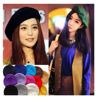 Wholesale 20pcs Hot Selling Fashion Wool Warm Women Felt French Beret Beanie Women Hat Cap Tam Ladies Hats Girls Berets