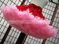 Wholesale Pettiskirt Red and Pink Mini Ball Gown Petticoat for Bride Ruffled Crinoline with Bow Ribbon Christmas Cupcake Skirt Halloween Cosplay Skirt