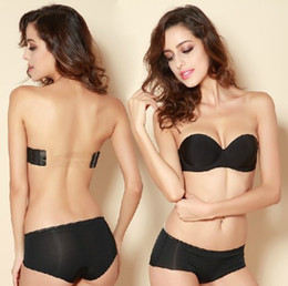 Wholesale underwear hot sale invisible a blade strapless tape bra and brief set push up breasted glossy adjustable underwear